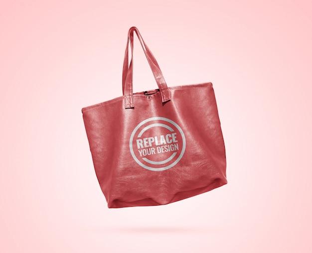 Пастельная розовая кожаная сумка-макет