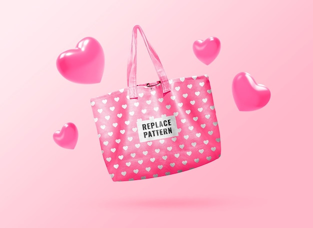 Пастельно-розовая сумка-тоут, макет