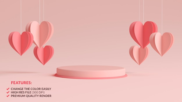 Pastel pink valentines day podium surrounded by hanging paper hearts in 3d rendering