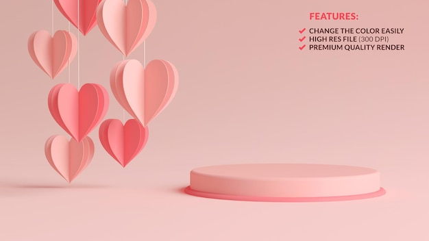 Pastel pink valentines day podium with hanging paper hearts in 3d rendering