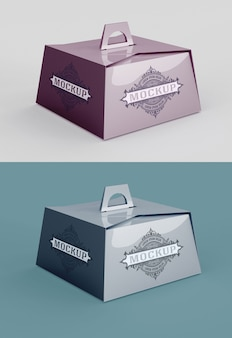 Pastry box mockup with handle isolated
