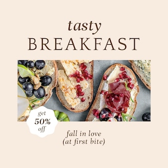 Pasticceria colazione psd ig post modello per il marketing di prodotti da forno e caffè