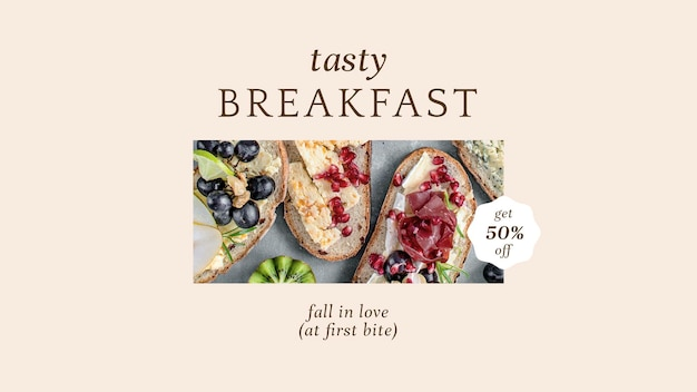 Pastry breakfast psd presentation template for bakery and cafe marketing
