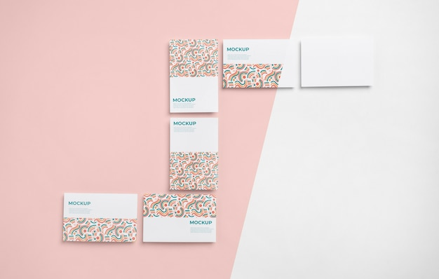 Pattern business cards above view