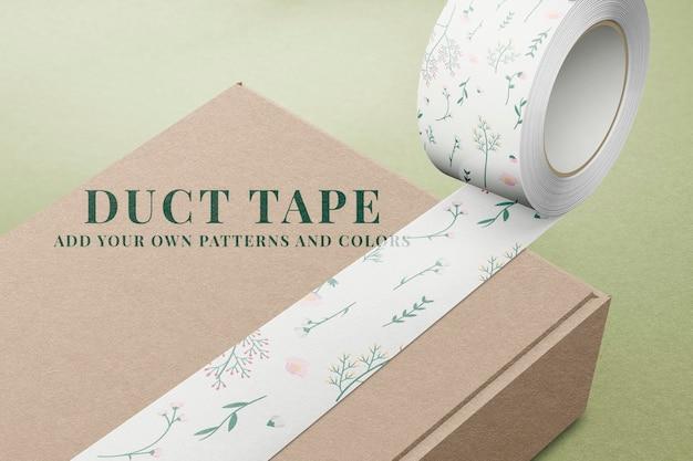 무늬가 있는 덕트 테이프 목업 psd, 편집 가능한 디자인