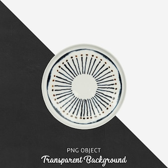 Patterned round serving plate on transparent background