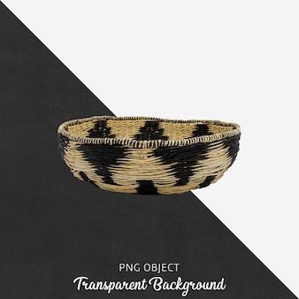 Patterned wicker basket on transparent