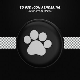 발 인쇄 3d 아이콘 렌더링 절연
