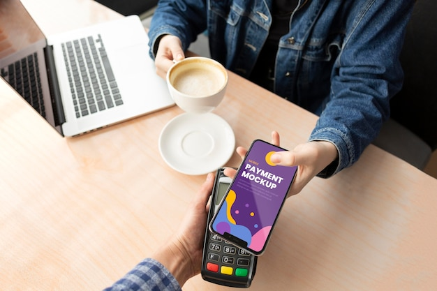 Payment app on mock-up smartphone display