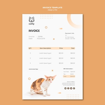 Payment invoice template for adopting a pet