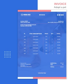 Payment invoice template for pet adoption