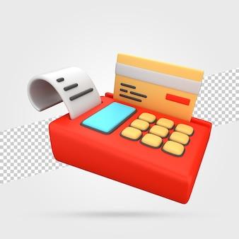 Платежный терминал с кредитной картой 3d визуализации