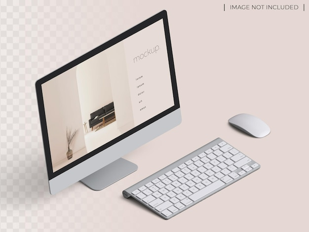 Pc computer monitor device website screen presentation mockup with mouse and keyboard isometric view