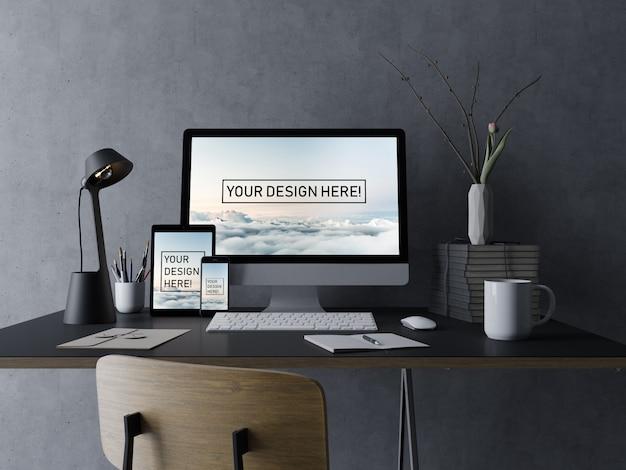 現実的なセットのpcデスクトップ、タブレットパッド、および黒の最小限のインテリアで編集可能な表示を備えた電話モックアップデザインテンプレート