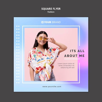 Peace sign cute girl fashion square flyer template