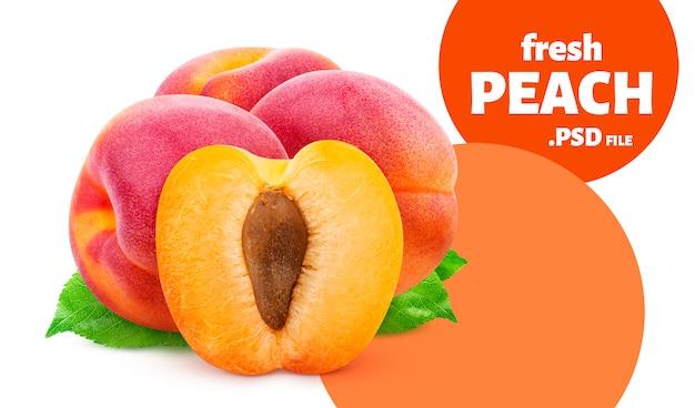 Персик, изолированные на белой стене
