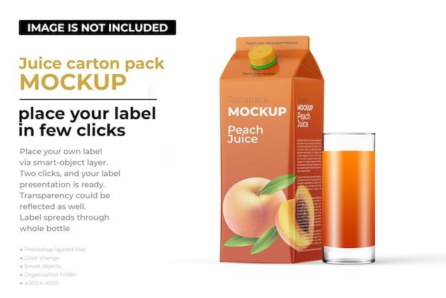 Peach juice carton pack mockup