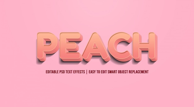Peach - text effect premium psd