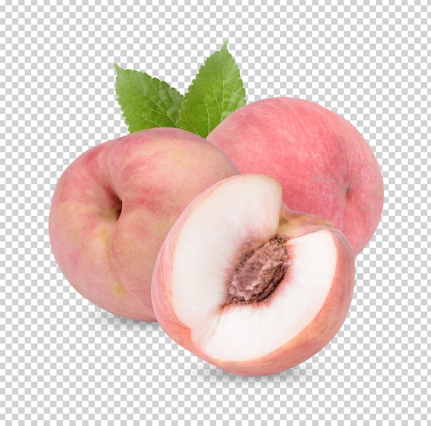 Peach with leaves isolated permium psd