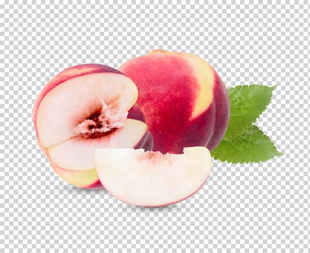 Персик с изолированными листьями