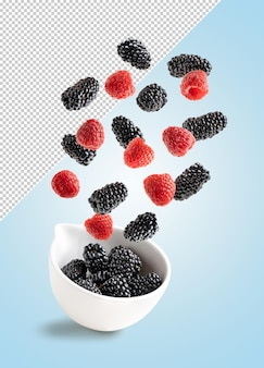 Pears blackberries in a bowl mockup