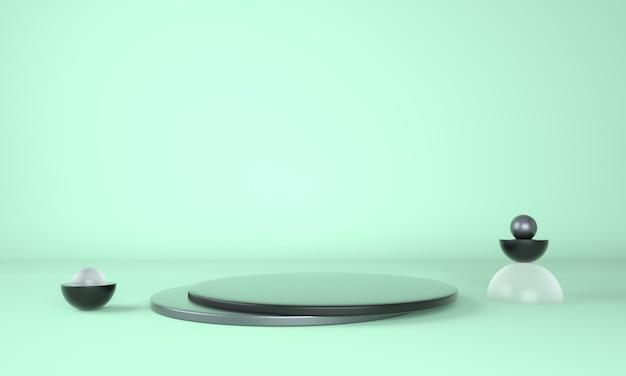 Pedestal for display, platform for design, blank product 3d rendering