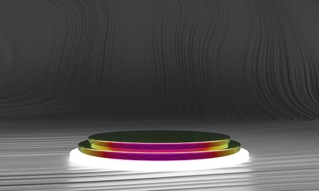 Pedestal for display, platform for design, blank product in 3d rendering