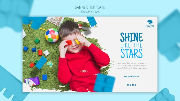 Pediatric care concept banner design