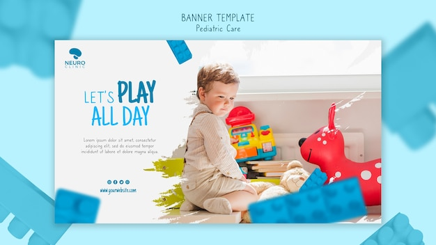 Pediatric care concept banner style
