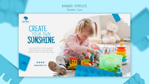 Pediatric care concept banner template