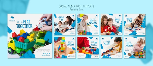 Concetto di assistenza pediatrica post sui social media