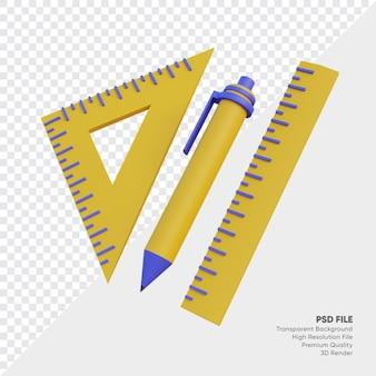 펜 및 눈금자 세트 3d 그림
