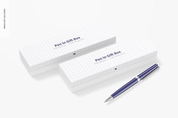 Penna in scatole regalo mockup, prospettiva