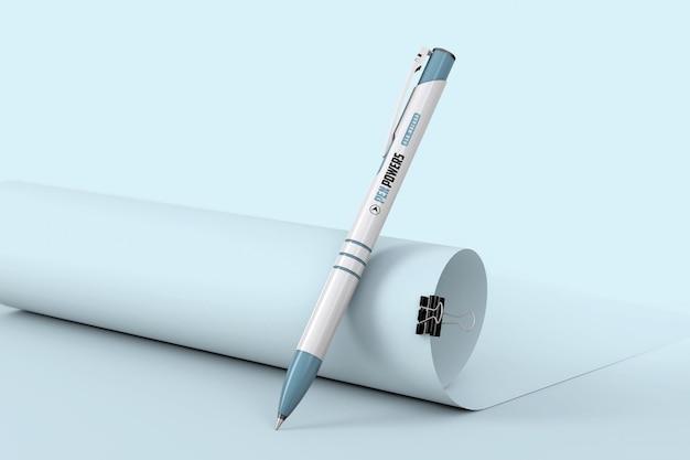 Pen on paper roll mockup