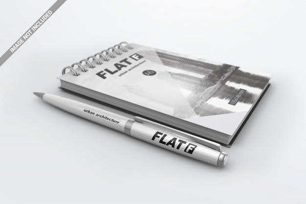 Pen with notebook mockup