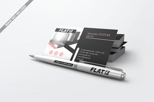 Pen with pile business cards mockup