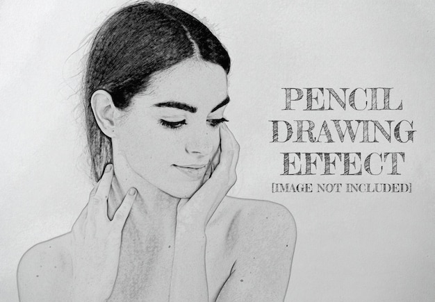 Pencil drawing photo effect mockup