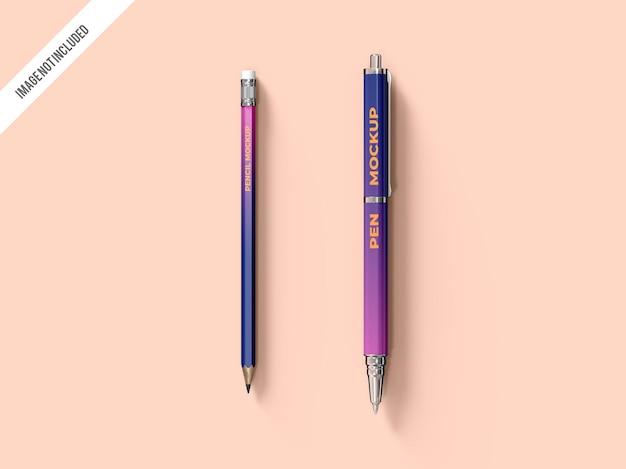 Pencil and pen mockup