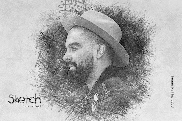 Pencil sketch photo effect template