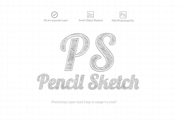 Pencil sketch photoshop text effect