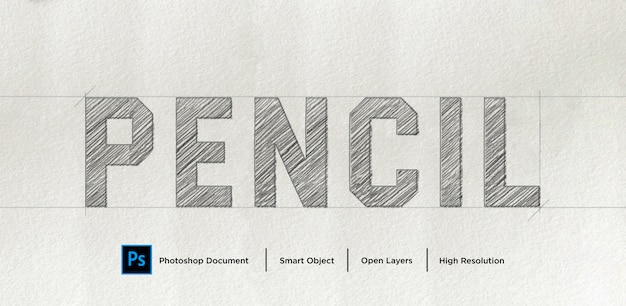 Pencil sketch text effect design photoshop layer style