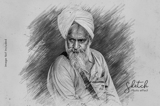 Pencil sketching photo effect template