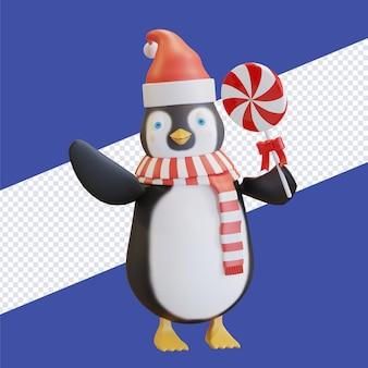 Пингвин в шляпе санта-клауса с красным шарфом держит леденец на палочке