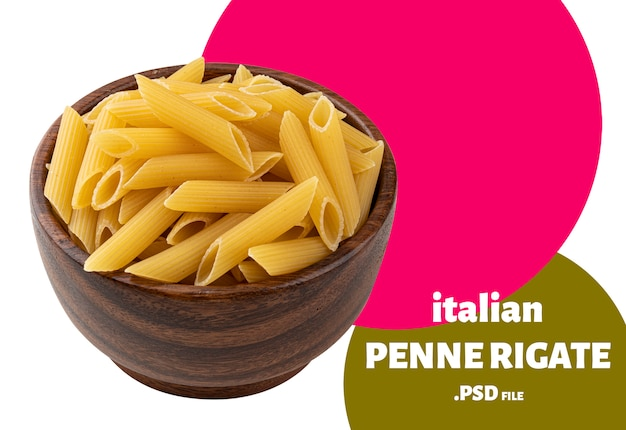 Penne rigate pasta isolated on white background