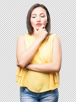 Pensive asian woman