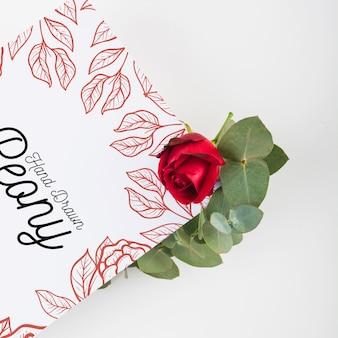 Peony flower placard mockup