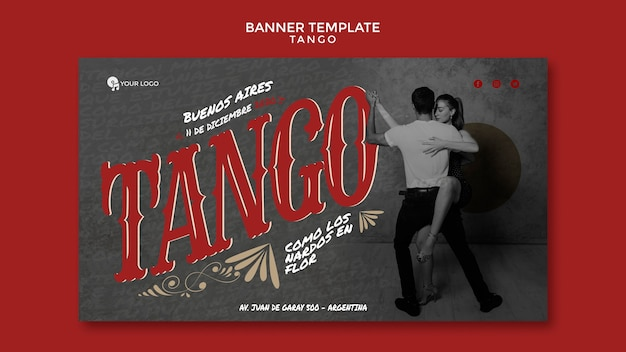 People dancing tango banner web template