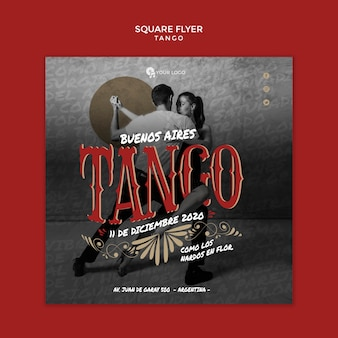 People dancing tango square flyer template