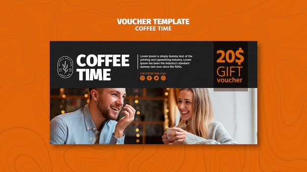 People drinking coffee voucher template