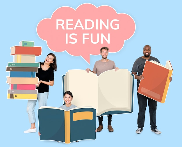 People holding book icons and an empty speech bubble